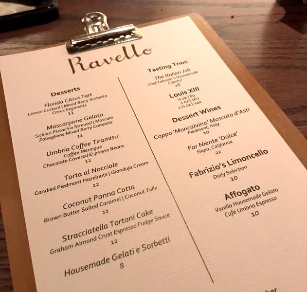 Dessert menu at Ravello