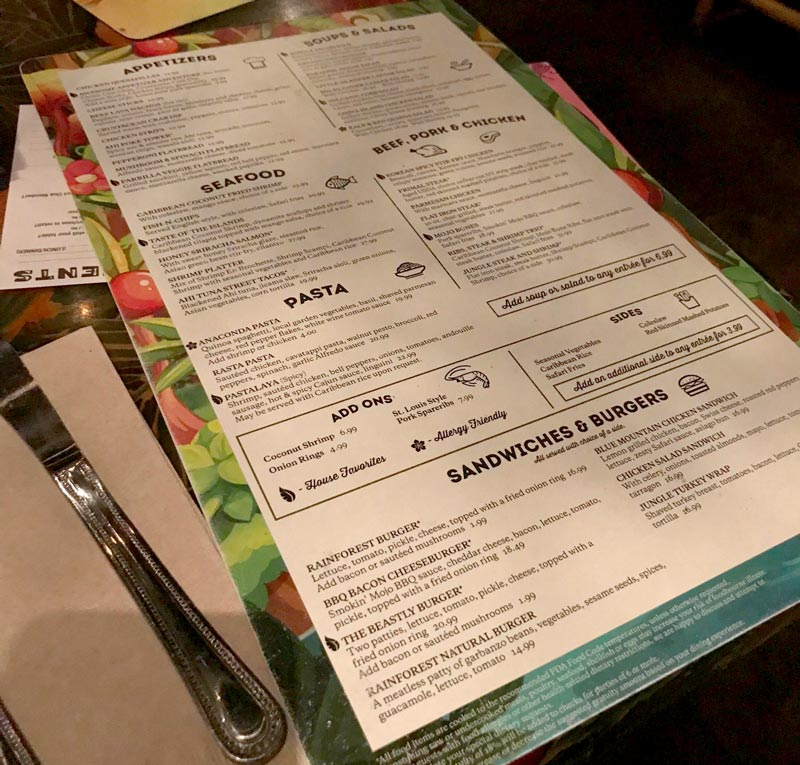 Rainforest Cafe Menu