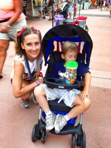 Kid in stroller at Disney World