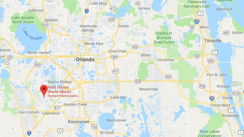 Map of Walt Disney World Orlando Florida