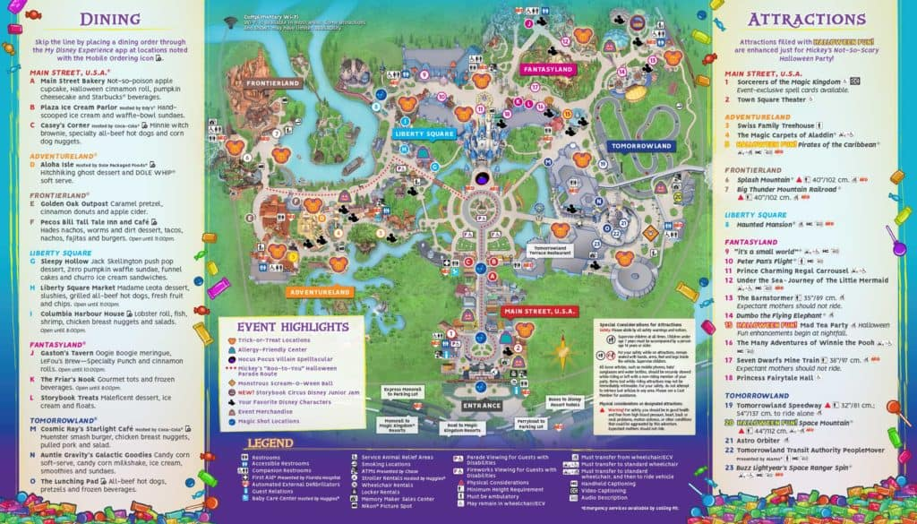 Mickey's Not So Scary Halloween Party Map 2018