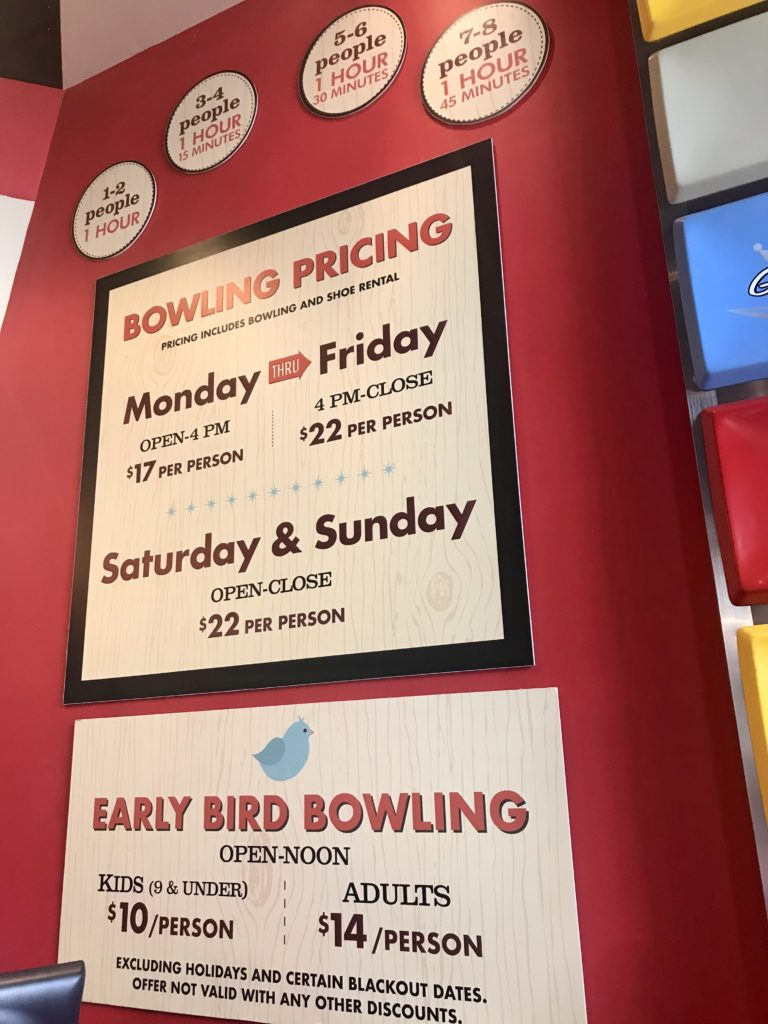 Splitsville Disney Springs Pricing