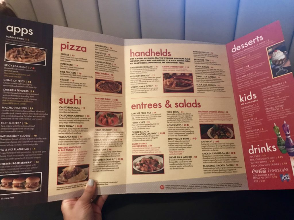 Splitsville Disney Springs Menu