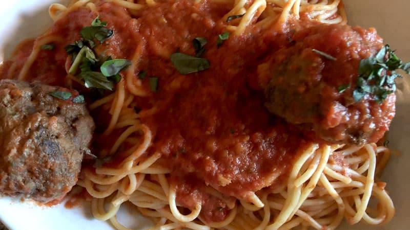 Spaghetti Pomodoro and Meatballs