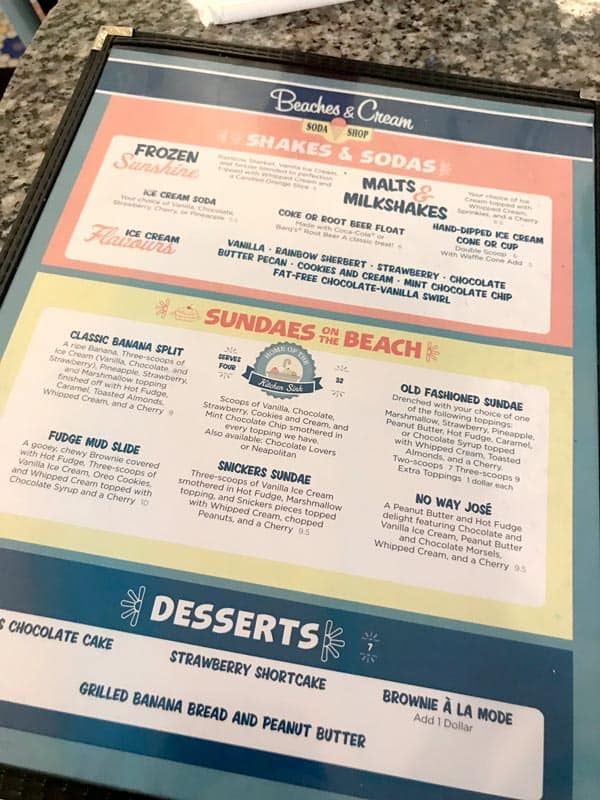 Beaches and Cream Ice Cream Menu