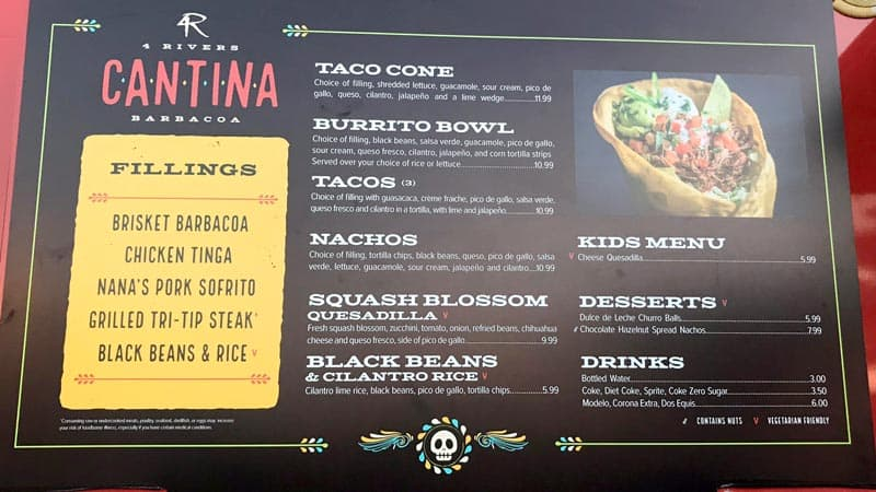 4 rivere cantina menu