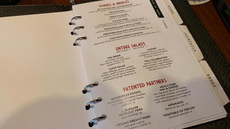 Menu for the Edison Disney Springs
