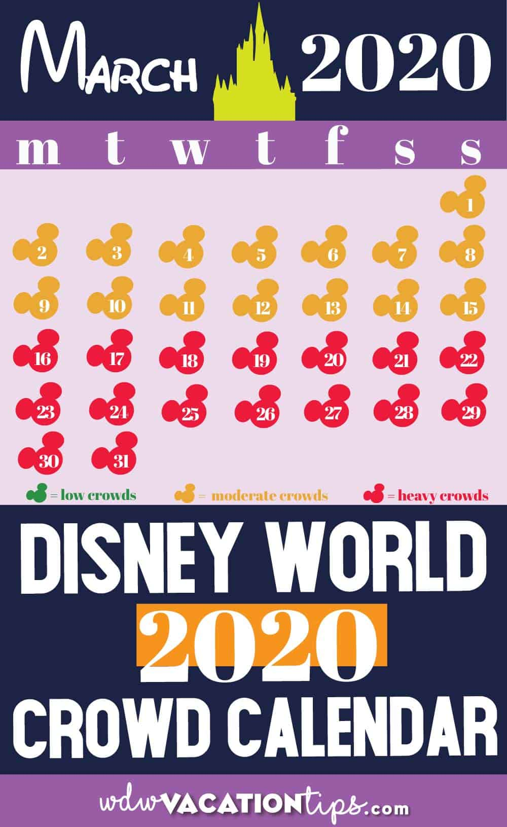 Disney World Crowd Calendar for 2020 2