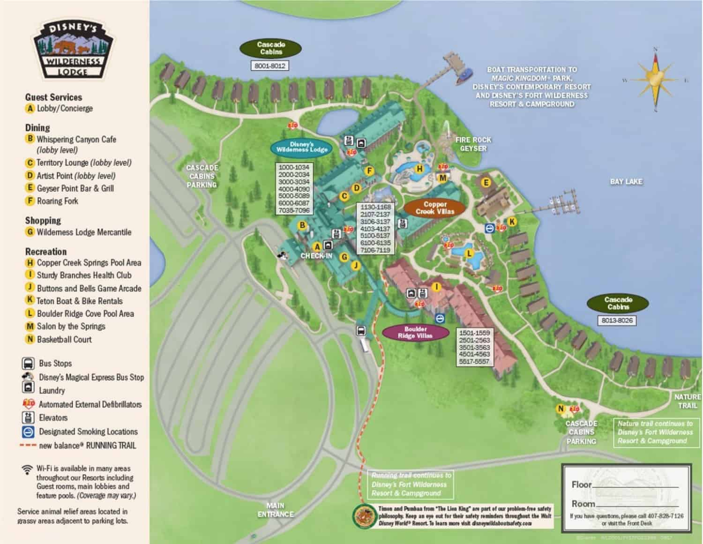 Disney Wilderness Lodge Resort Map