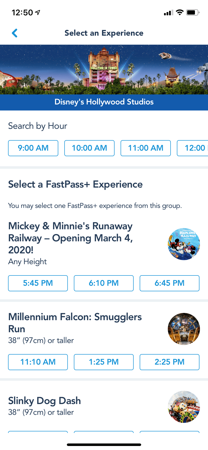 Hollywood Studios Fastpass Tiers